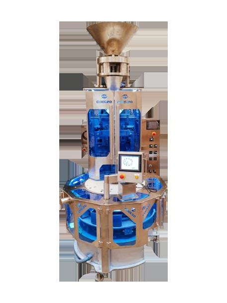 Máquina de envasado vertical con carrusel para paquete cuadrado